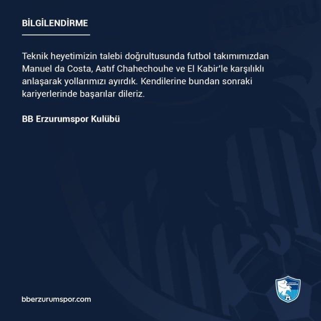 Yılmaz Vural'dan kıyım! Erzurumspor'da 3 oyuncunun sözleşmesi feshedildi