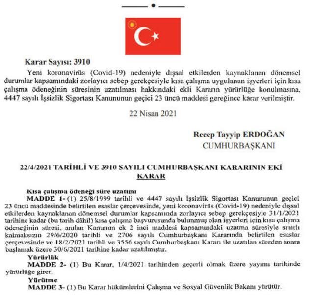 Kısa çalışma ödeneği 30 Haziran'a kadar uzatıldı