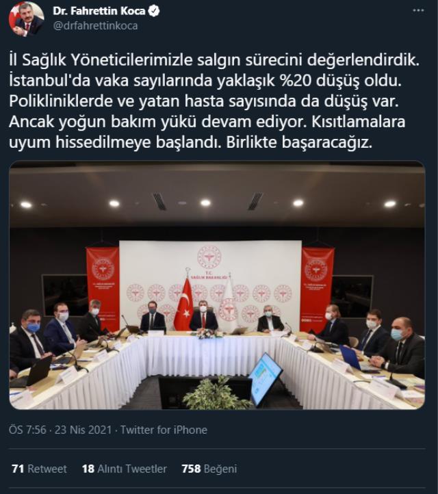 Son Dakika: İstanbul'da vaka sayılarında yaklaşık yüzde 20 düşüş oldu
