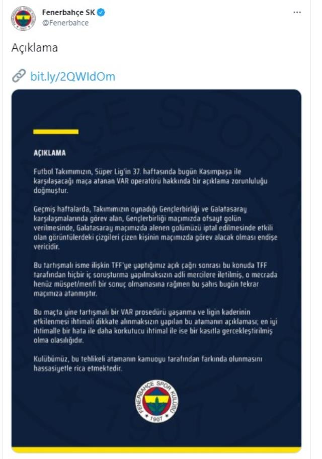 Fenerbahçe reacted to the VAR operator who filed a criminal complaint, taking part in the Kasımpaşa match