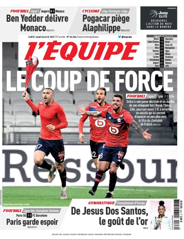 Burak adorned the headlines in France, L'Equipe, the country's most important sports newspaper, titled 'Championship thanks to the Turkish star'
