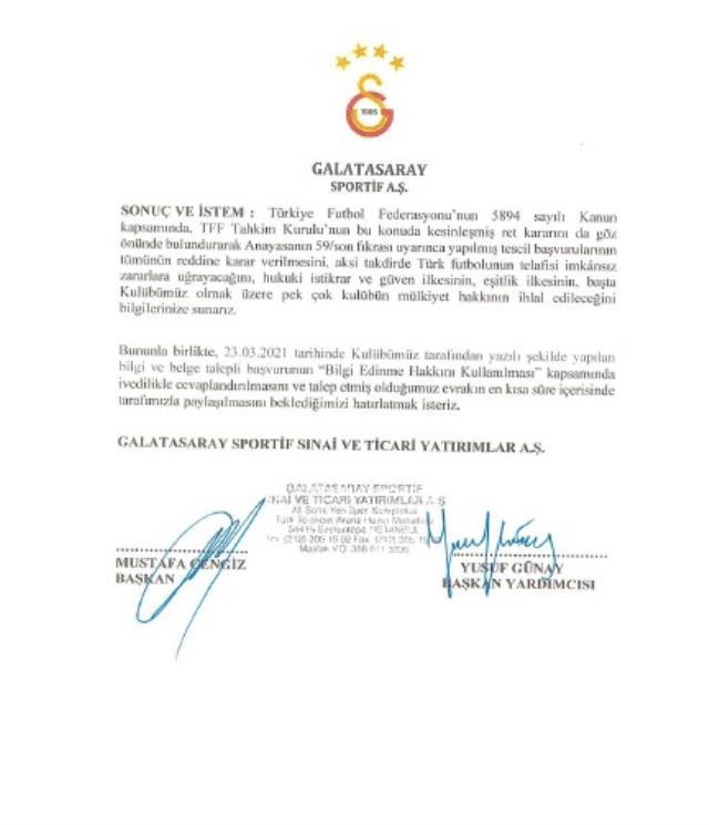 Galatasaray, Fenerbahçe'nin şampiyonluklar için yaptığı başvurunun reddi için TFF'ye Cengiz'in imzasıyla itirazda bulundu