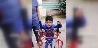 Halil Efe: Kas hastası 5 yaşındaki Halil İbrahim, hayırsever tarafından alınan yürüteç sayesinde ilk adımı attı