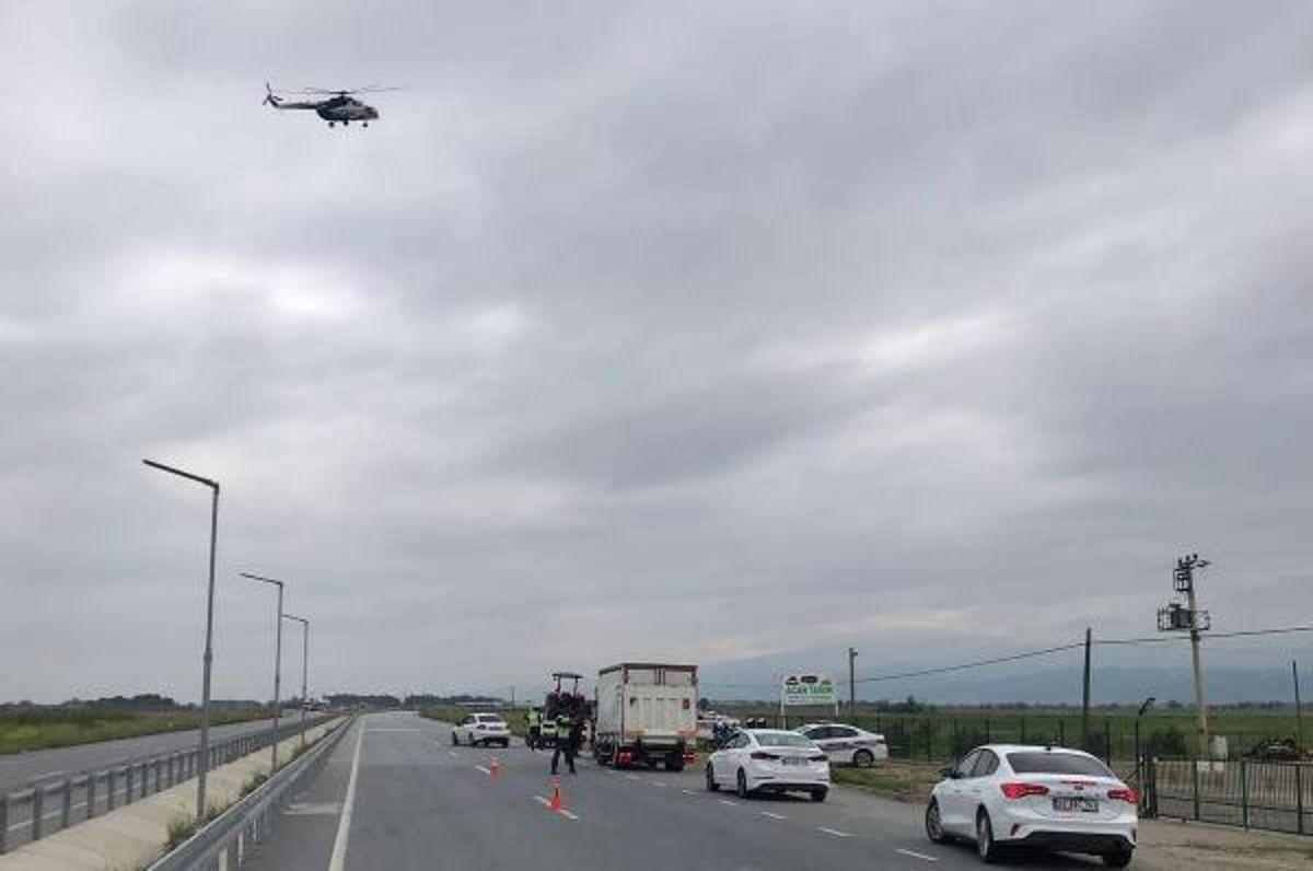 Manisa'da helikopterli trafik denetimi