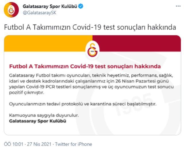Son Dakika: Galatasaray'da 3 futbolcunun koronavirüs test sonucu pozitif