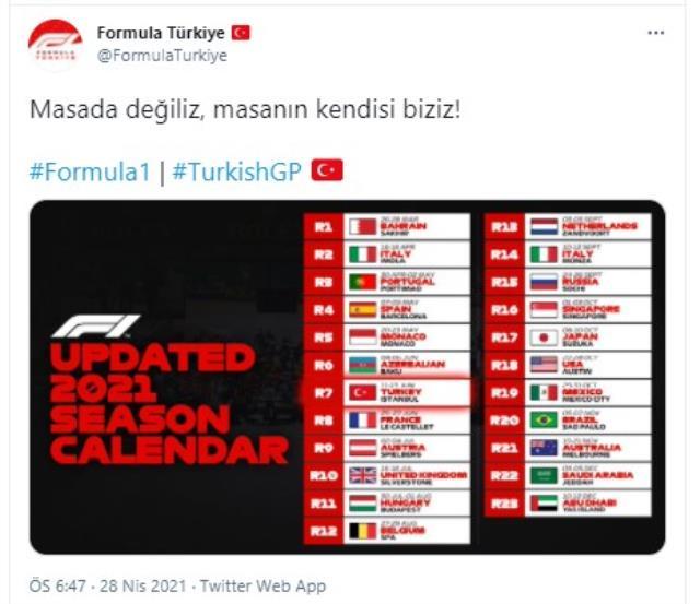 Formula 1 2021 sezonunda 13 Haziran'daki Kanada Grand Prix'si yerine Türkiye takvime alındı