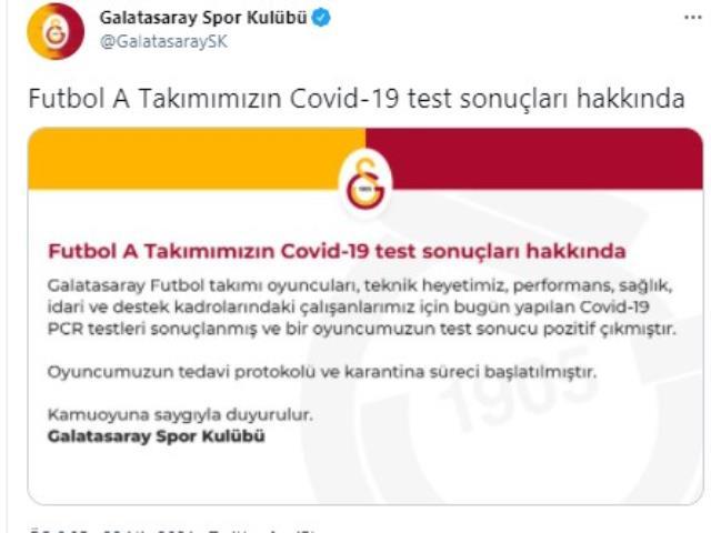 Galatasaray'da koronavirüse yalanan futbolcu sayısı 4'e yükseldi