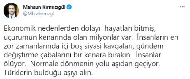 Mahsun Kırmızıgül: Türklerin bulduğu aşıyı alın