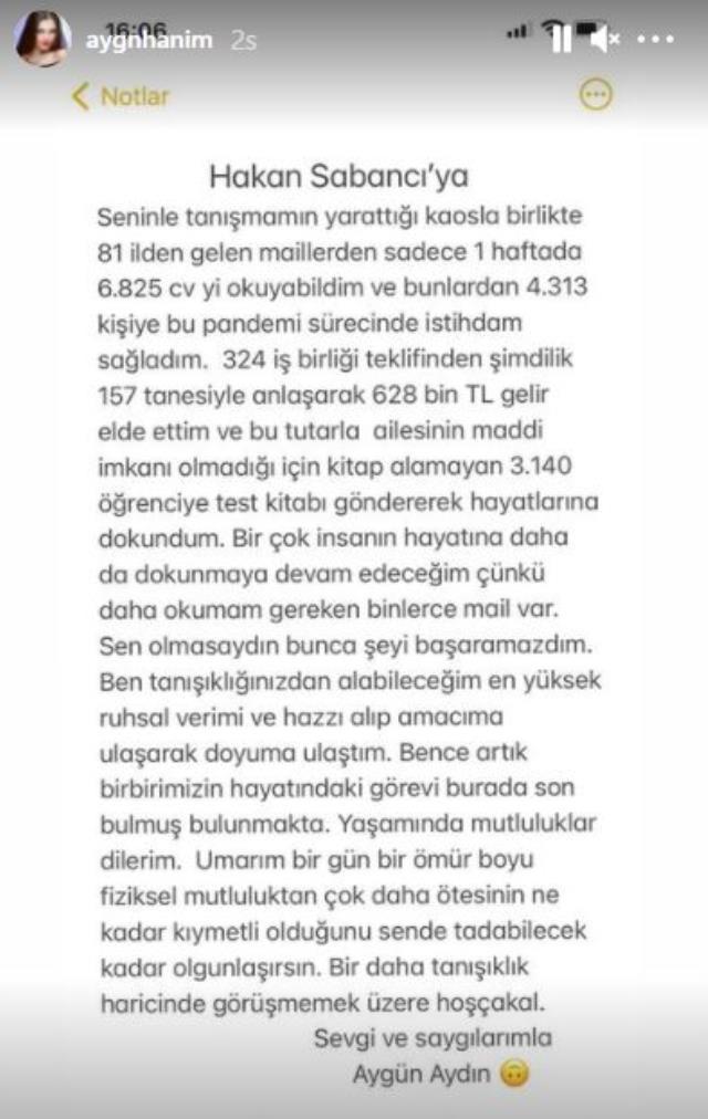Türkiye böyle veda mesajı görmedi! Aygün Aydın, Hakan Sabancı'yla sevgiliyken kazandığı parayı kalem kalem açıkladı