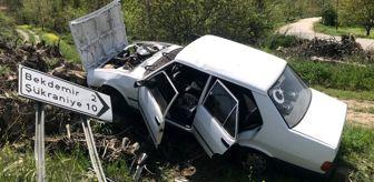Bozüyük: Bilecik'te yoldan çıkarak ağaç köklerine çarpan otomobilin sürücüsü yaralandı