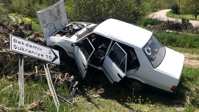 Bilecik'te yoldan çıkarak ağaç köklerine çarpan otomobilin sürücüsü yaralandı