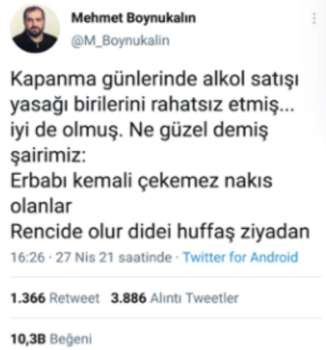 Alkol yasağı için tweet atan Mehmet Boynukalın, takipçisinin uyarısıyla paylaşımını apar topar sildi