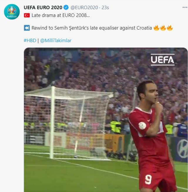 Ertelenen Avrupa Şampiyonası'nın tanıtım hazırlığına başlayan EURO 2020 hesabı, Semih'in Hırvatistan'a attığı golü de paylaştı