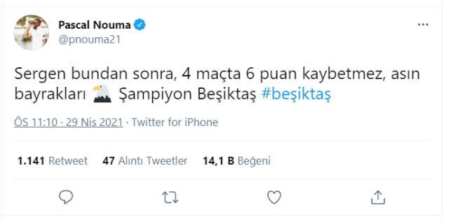 Eski Beşiktaşlı Pascal Nouma, şampiyonluk ateşini yaktı: Asın bayrakları, Sergen kimseye puan vermez