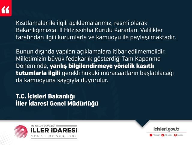 İçişleri Bakanlığı'ndan alkol yasağı açıklaması: Resmi olmayan kurum ve kişilere itibar etmeyiniz