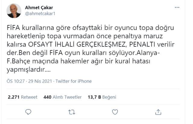İki eski hakem Ahmet Çakar ve Deniz Çoban, F.Bahçe'nin iptal edilen penaltısında hata yapıldığı görüşünde