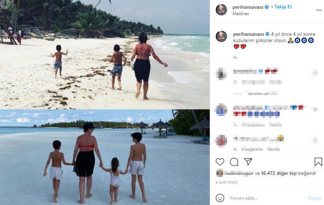 Maldivler'de tatil yapan 63 yaşındaki Perihan Savaş bikinili pozunu paylaştı