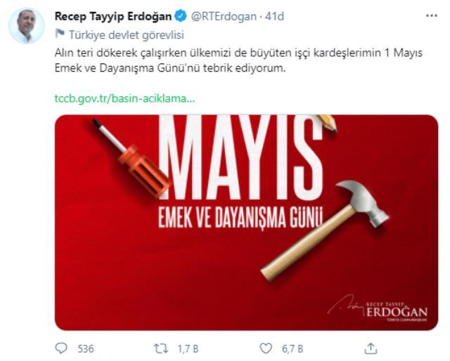 Cumhurbaşkanı Erdoğan: Alın teri döken tüm işçi kardeşlerimizin 1 Mayıs'ını kutluyorum