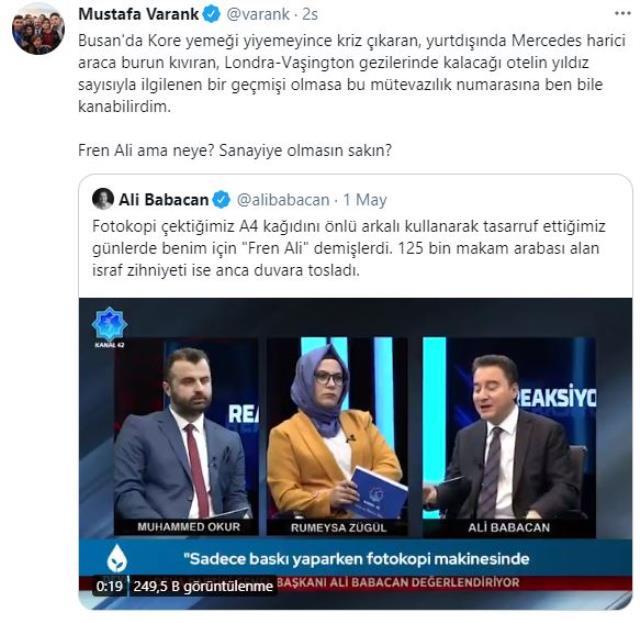 Bakan Varank, Babacan'ın 'Fren Ali' sözlerini eleştirdi: Sanayiye olmasın sakın?