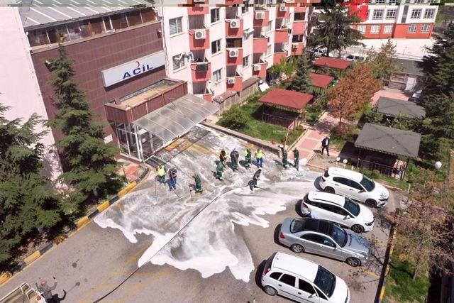 Keçiören'deki hastanelerin temizlik çalışmaları devam ediyor