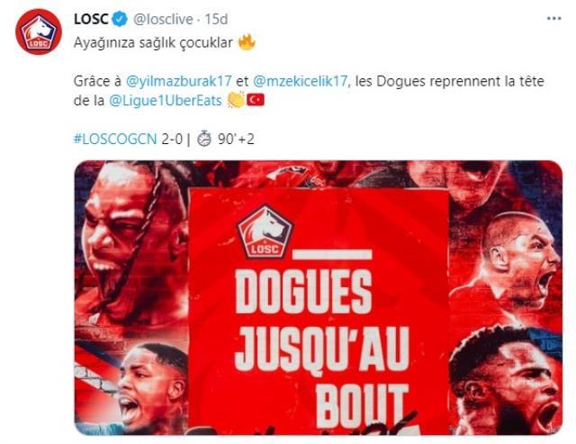 Lille, Burak Yılmaz ve Zeki Çelik'in golleriyle Nice'i 2-0 mağlup etti