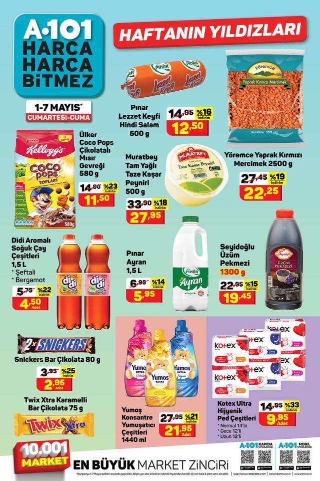 A101 1-7 Mayıs Haftanın Yıldızları Pazartesi indirimli ürünler kataloğunu yayınladı