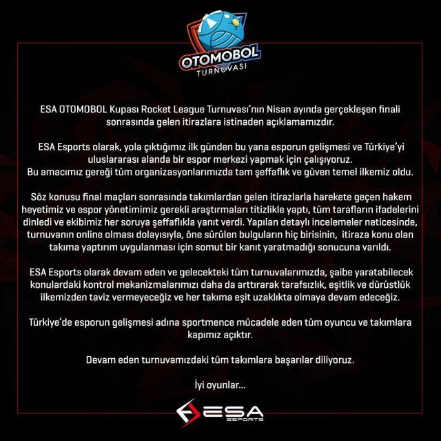 ESA Esports Otomobol turnuvasında yaşanılan olay hakkında açıklama yaptı!