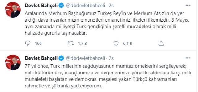 MHP'nin 3 Mayıs'ı Milliyetçiler Günü olarak kutlamasının ardından tüm gözlerin çevrildiği Bahçeli'den açıklama geldi