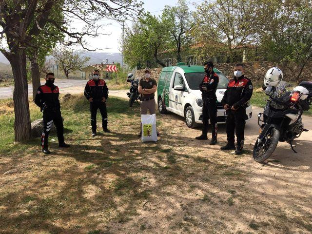 Polisler sokak kısıtlamasında hayvanları besledi