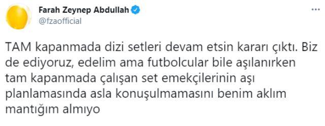 Set çalışanlarının aşılanması gerektiğini söyleyen Farah Zeynep Abdullah, Fahrettin Koca'ya seslendi: Bir adım atılsın