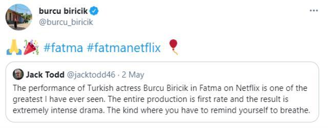 Dünyaca ünlü gazeteci Jack Todd, Burcu Biricik'in Fatma dizisindeki başarısını öve öve bitiremedi