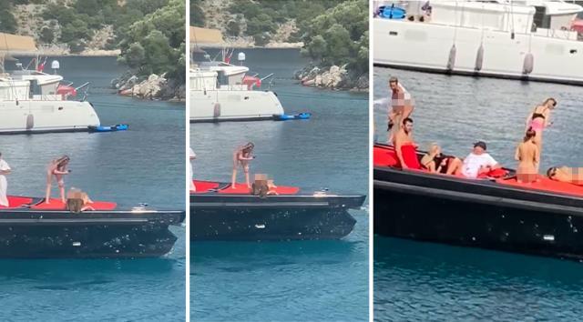 Tekne üzerinde çıplak poz verdiler
