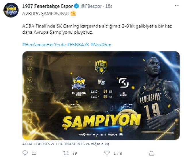1907 Fenerbahçe Espor NBA 2K Avrupa Şampiyonu oldu!