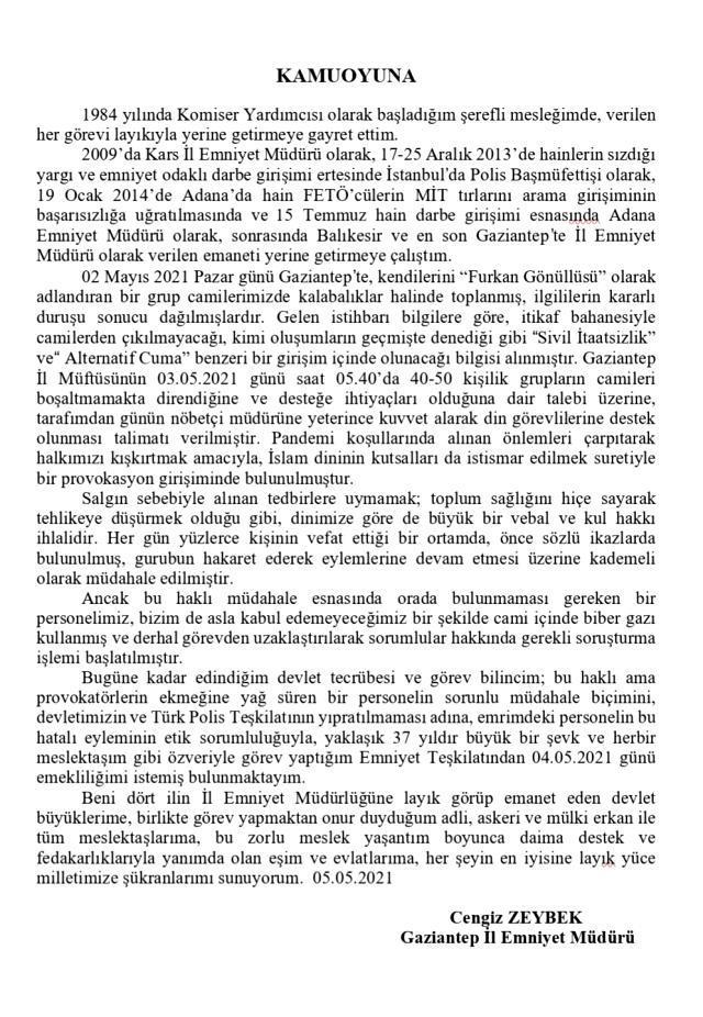 Gaziantep Emniyet Müdürü Cengiz Zeybek, cami provokasyonu sonrasında emekliliğini istedi