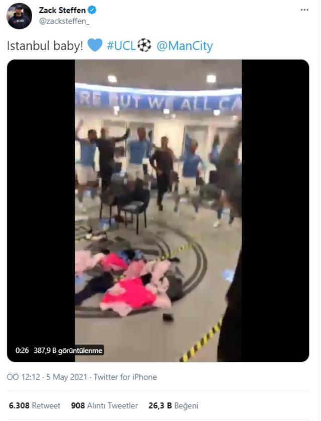 Manchester City'nin İstanbul coşkusu! Soyunma odasındaki kutlamalar sosyal medyaya damga vurdu