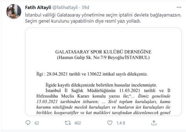 Fatih Altaylı'dan olay paylaşım: İstanbul Valiliği, Galatasaray'a 'Seçimi yap, iptali devlete bağlama' diye resmi yazı yolladı
