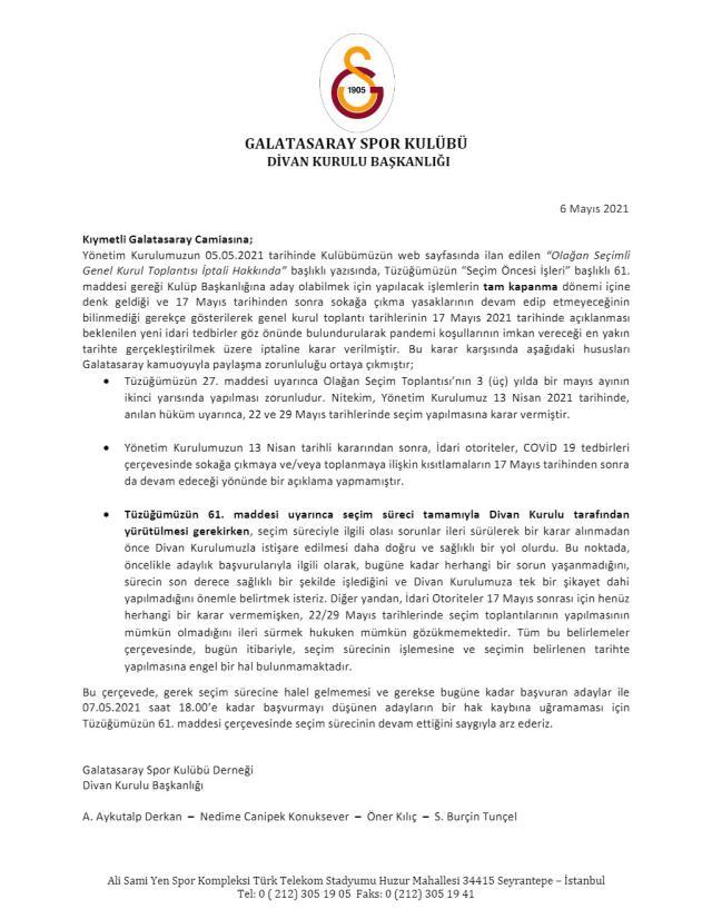 Galatasaray'da seçim kaosu! Yönetim iptal etti, Divan Kurulu tam tersini söyledi