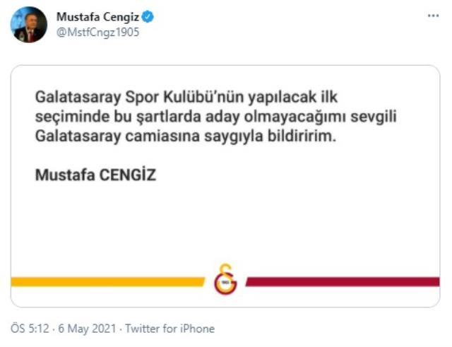 Son Dakika: Galatasaray Başkanı Mustafa Cengiz önümüzdeki Olağan Kurul Genel Seçiminde başkan adayı olmayacak