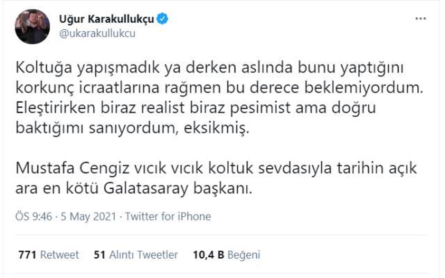 Ünlü yorumcu Karakullukçu'dan Başkan Cengiz'e sert sözler: Vıcık vıcık koltuk sevdalısı, tarihin en kötü başkanı