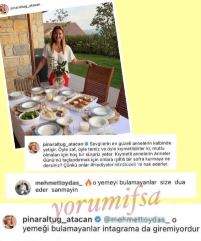 Pınar Altuğ, yemek masasını paylaştığı için kendisini eleştiren takipçisiyle kapıştı