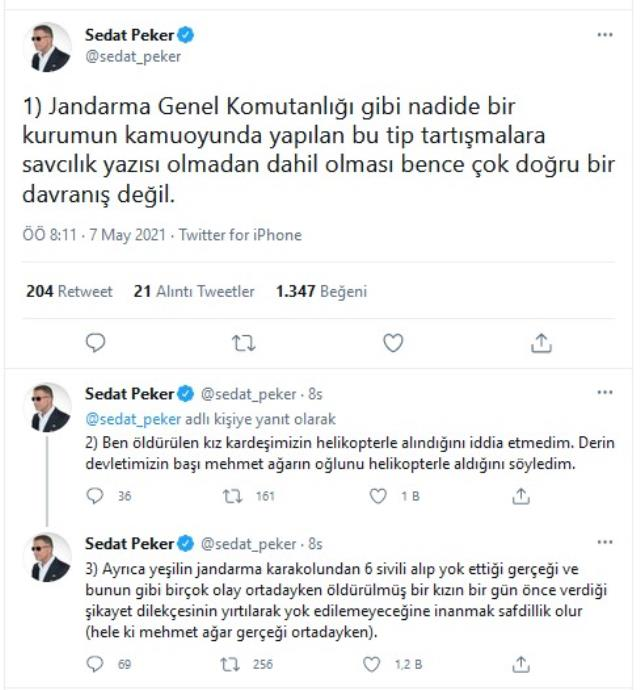 Sedat Peker'den Jandarma'ya 'Yeşil' hatırlatmalı yanıt: Buna inanmak safdillik olur