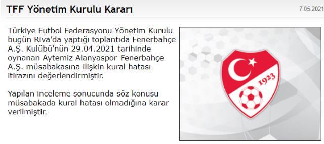 TFF, Fenerbahçe'nin Alanyaspor maçıyla ilgili yaptığı kural hatası başvurusunu reddetti