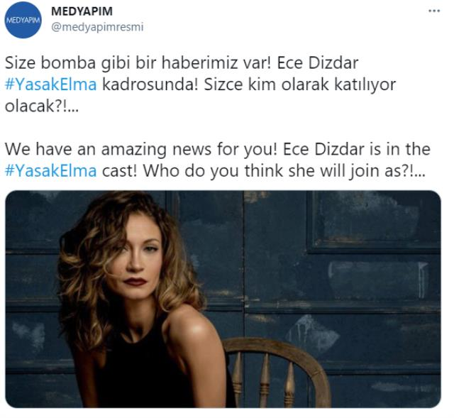 Oyuncu Ece Dizdar, Yasak Elma dizisinin kadrosuna dahil oldu