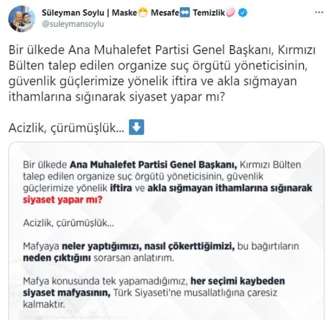 Bakan Soylu'dan Sedat Peker'in iddialarına 'İçişleri Bakanı seyirci' yorumu yapan Kılıçdaroğlu'na sert tepki