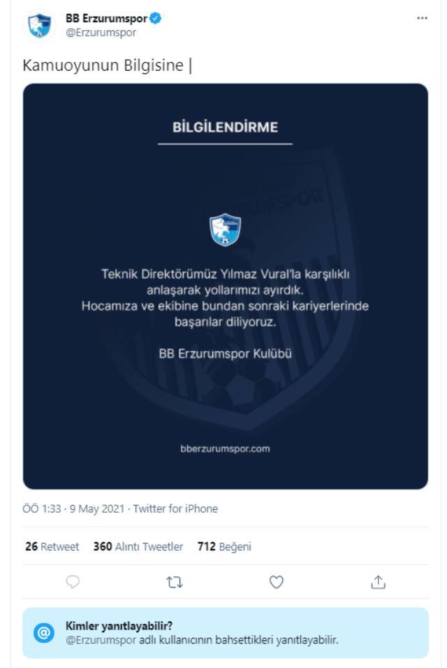 Erzurumspor gece yarısı Yılmaz Vural'ı kovdu, ayrılık açıklaması da yorumlara kapatıldı