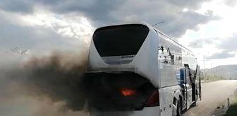 Toybelen: Son dakika haberi... Seyir halindeki yolcu otobüsünde yangın çıktı