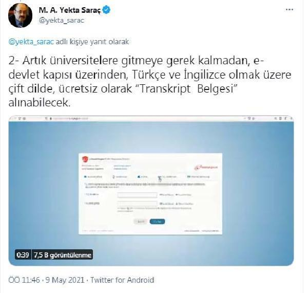 YÖK Başkanı Saraç: Transkript Belgesi, e-devlet kapısı üzerinden alınabilecek
