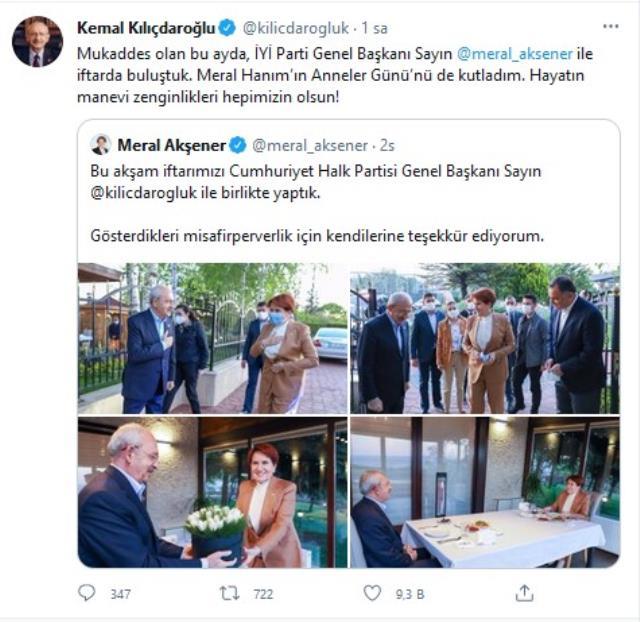 Akşener ve Kılıçdaroğlu iftarda bir araya geldi
