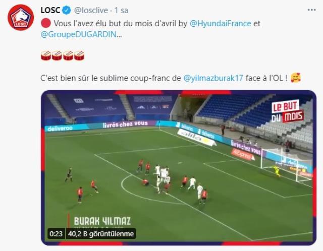 Burak Yılmaz'ın Lyon'a frikiği Nisan ayının en güzel golü seçildi