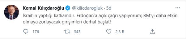 Kılıçdaroğlu'ndan Cumhurbaşkanı Erdoğan'a İsrail çağrısı: BM girişimlerini derhal başlat